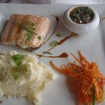 Salmon that my wife enjoyed. Lunch and dinner menus are the same.