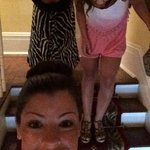 Goofing around on the stairs with my GFs!