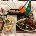 Olympique salad and cheese platter