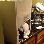 here is what they did with broken fridge, left it on our bathroom counter