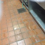 Water all over the floor. Making conditions dangerous for kitchen staff
