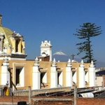 """View of the """"Popocatepl Volacano"""" from the roof top terrace"""