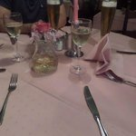 Pink table settings.