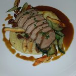 Maple Leaf Farms duck breast, Hawk Ridge Farm zucchini, toasted pecans, Wade's Mill grits, Chick