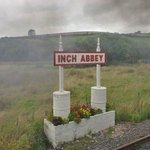 Arriving at Inch Abbey