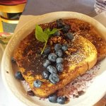 French Toast with Flake crust, blue berries and pecans