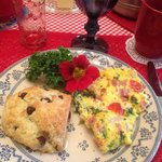 The second morning we were treated to a frittata and chocolate chip scone!