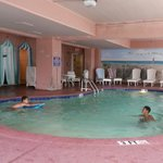While we waited to check in....kids enjoying indoor pool @ Comfort Inn Boardwalk.... (11:40 ish)