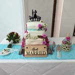 cake setup in the reception room