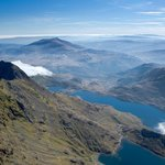 Snowdon, the highest mountain in Wales and England, one hout to the north
