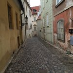 cobblestone street to the hotel
