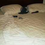 Bed not done after an entire day out.
