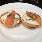 Egg whites and salmon on english muffin. (the plate is smiling!)