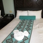 The mickey towels on the bed, nice touch.