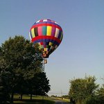 View of the balloon flying over picturesque Philly county