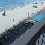 View of pool/beach from balcony of 6th floor room