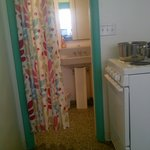 Curtain dividing bathroom and kitchen