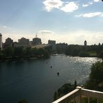 From our little balcony of the Spokane river and skyline