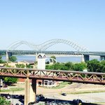 View of Mississippi River Bridge from roof top pool.