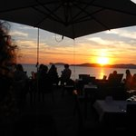 The restaurant deck at sunset : Villa Mosca