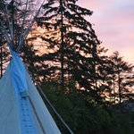 Our Tipi against the sky at sunrise