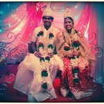 Bride and Bride-Groom on the stage at the Banquet Hall