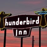 Thunderbird Inn Sign at dusk