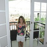 at the balcony door