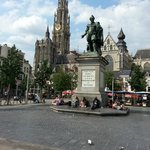 Cathedral to left of Rubens statue