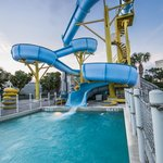 Take the plunge down a 4-story waterslide
