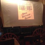 Informative movie..... projected on a covered wagon.