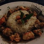 Dinner at Seafood Restaurant - Shrimp & Mushrooms over Rice