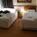 Single beds and laminate floor
