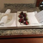 'Chocolate covered stawberrys & anniversary card from the hotel'