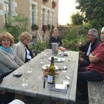 A group of French walkers having a glass of wine