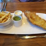 Butter fish, chips and peas