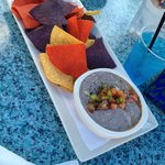 black bean hummus and abundance of chips