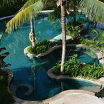 looking down to one of the 5 pools in the resort