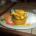 Cafe Puerto Rico --Seafood stuffed mofongo, made with Yucca instead of plantains and sans pork