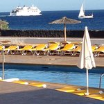 Evening sea view from pool area watching ferry heading to Fuertaventura