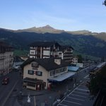 Grindelwald station as seen from the room balcony on the 4th floor
