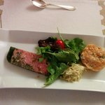 Ham parsley terrine, salmon tartare and baby leave salad