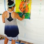 Expressive Intuitive Painting in the Yoga Pavillion overlooking the ocean