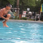 Airborne... at the pool.