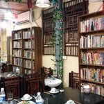 Orchid Restaurant used to be a bookstore. You'll see books all around because of this
