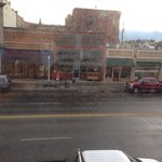 """King View Suite"" overlooks the dive bar across the street.  Baker City Oregon Geiser Grand Hote"