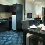 Kitchenette, Dining & Living Area at One-Bedroom Deluxe Pool Villa