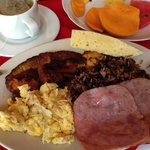 Delicious Breakfast that included caramelized plantains!