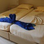 folde towels and sheets in room