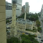 Looking out at the Chicago Water Tower and Lake Michigan